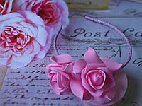 """Ободок обруч для волос """"Розовые розы"""" ручная работа"""