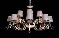 Люстра классическая с светодиодной подсветкой  рожков серебро/золото 8316-12