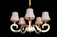 Люстра классическая с светодиодной подсветкой  рожков серебро/золото 8312-5
