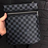 Сумка мужская Louis Vuitton D1688 серо-черная