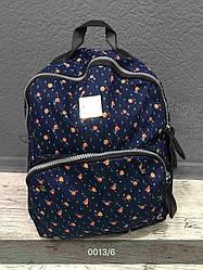 Жіночий, дитячий рюкзак візерунки, квітковий, синій