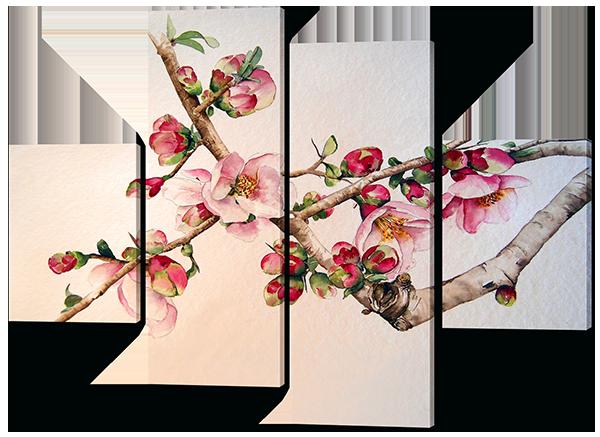 Модульная картина Цветущая вишня в Японии