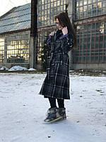 Двубортное женское шерстяное пальто в клетку ниже колен, фото 1
