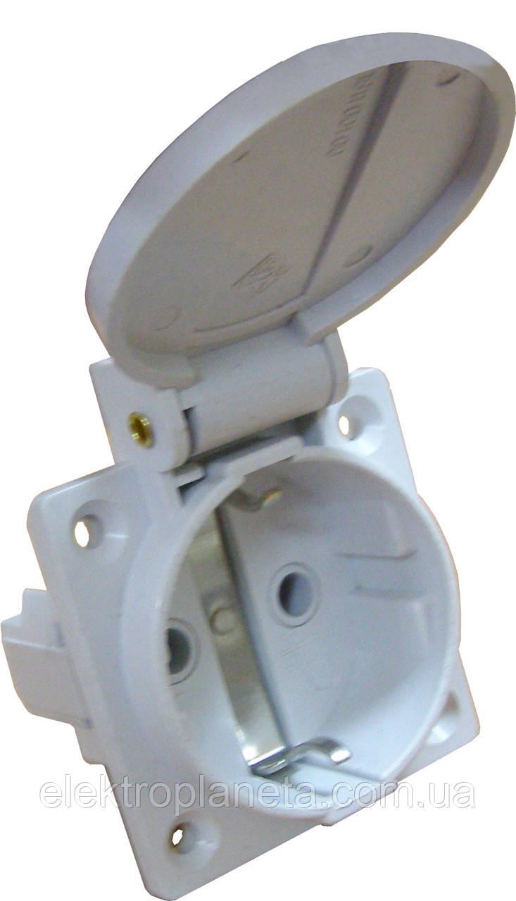 Розетка (гніздо) врізна ГВ 16А/2 (220В) 2Р+РЕ (312) біла