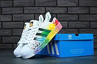 Кроссовки женские Adidas Superstar Rainbow Paint Splatter White Реплика