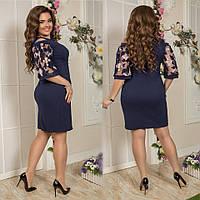 Стильное платье французская кружевная вышивкадля пышных форм