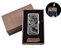 """USB + газовая зажигалка в подарочной упаковке (спираль накаливания, нормальное пламя) """"Дракон"""""""