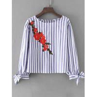Бантом Рукавом В Полоску Цветочный Вышитая Блузка L