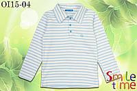 Батник-поло для мальчика с длинным рукавом р.128,134,140,146,152 SmileTime , голубая полоса