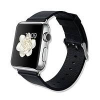 Кожаный черный ремешок Baseus Classic Buckle для Apple Watch Series 1/2/3 38mm