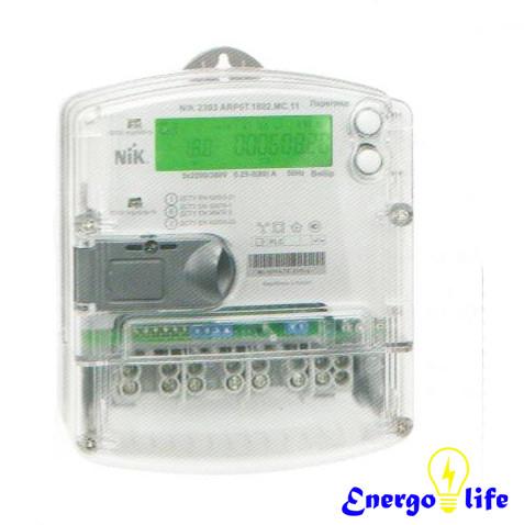 Счетчик электроэнергии NIK 2303 АП2.МС.1100 3*220/380В (5-60А), для измерения электрической активной энергии
