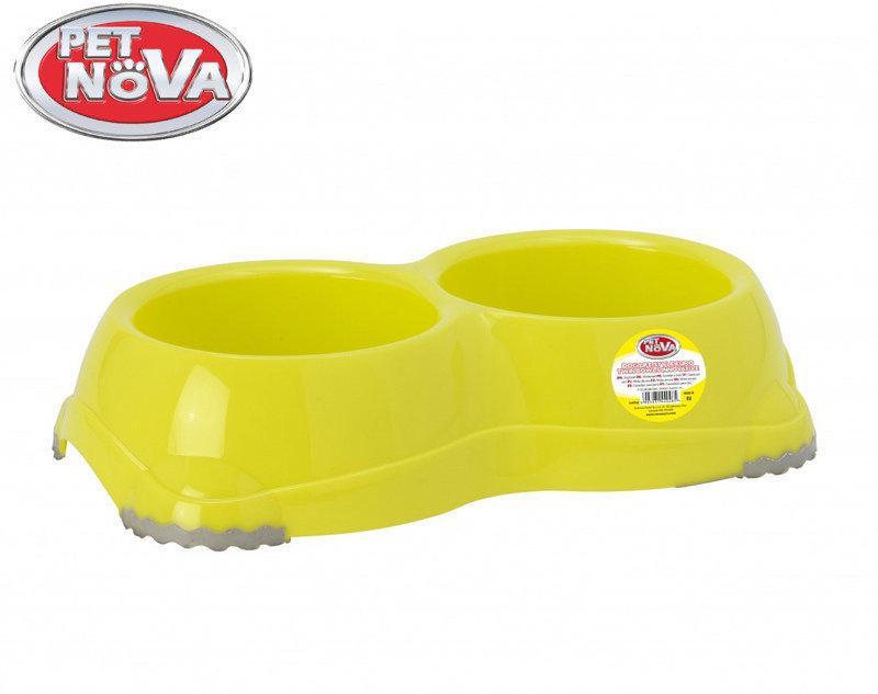 Двойная миска для собак Pet Nova EUROBOWL-INNO-2x645-YL Желтая