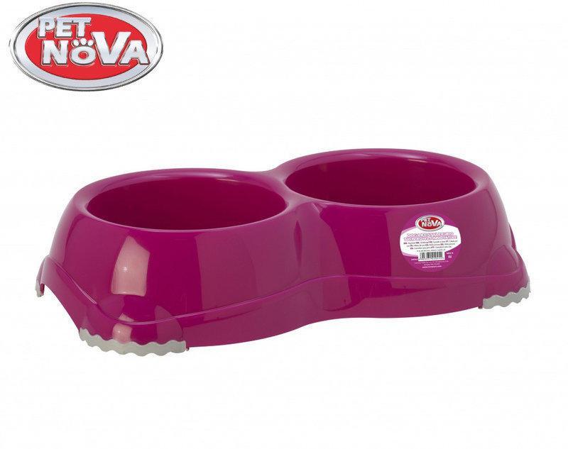Двойная миска для собак  Pet Nova EUROBOWL-INNO-2x645-PI Розовая