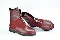 Ботинки комбинированные,цвета марсал спереди змейка