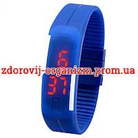 Турмалиновые спортивные светодиодные часы силиконовые влагонепроницаемые синие