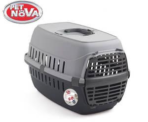 Контейнер-переноска для кошек PetNova Comfortrans 48.5х32.3х30.1 см серая