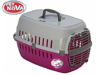 Контейнер-переноска для кошек PetNova Comfortrans 48.5х32.3х30.1 см розовая