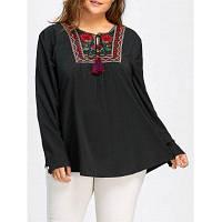 Большой Размер Женская Блузка С Цветочной Вышивкой И Рюшами 3XL