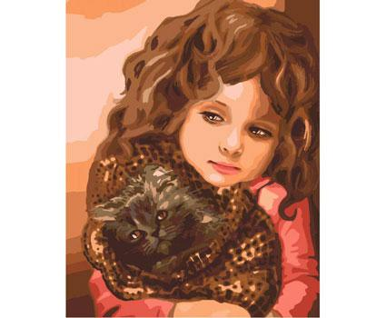 Картина по номерам Роспись на холсте Малышка с котенком КНО2307 без коробки