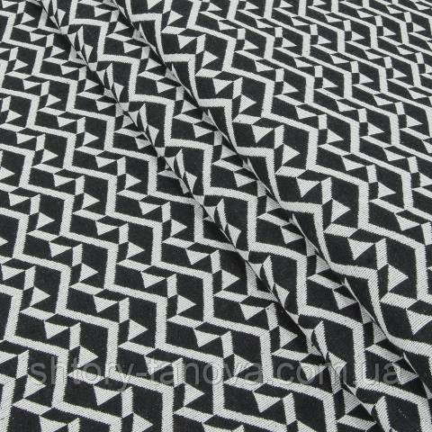 Гобелен ткань, узор, чёрно-белый