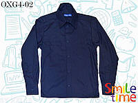 Рубашка с длинным рукавом на кнопках темно-синяя р.128,134,140,146,152 SmileTime Штрихи