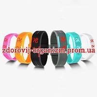 Турмалиновые спортивные светодиодные часы силиконовые влагонепроницаемые серые