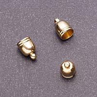 Фурнитура наконечник для бус L-12мм d1-7,5мм d2-6мм d3-2мм цвет золото