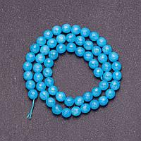Бусины из натурального камня Аквамарин темно голубой  на леске  граненный шарик d-6мм L-38см