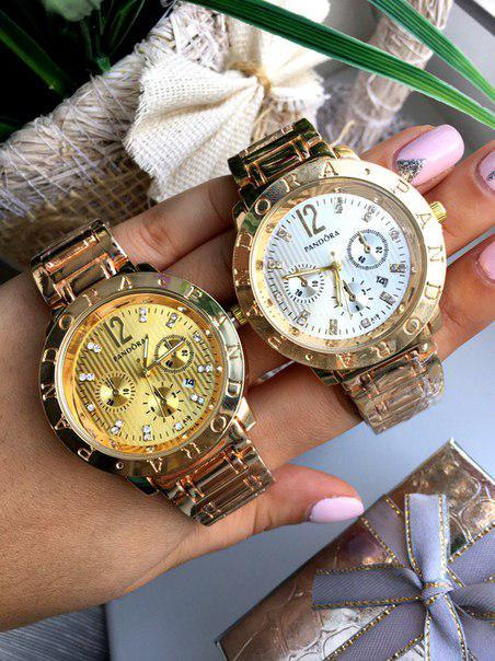 Часы женские кварцевые PANDORA. Стильные женские часы в золоте и серебре. Стильные часы.