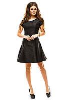 Женское жаккардовое черное платье с пышной юбкой из неопрена