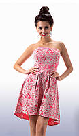 Женское розовое платье с корсетом (р. 42, 44) арт. 7891