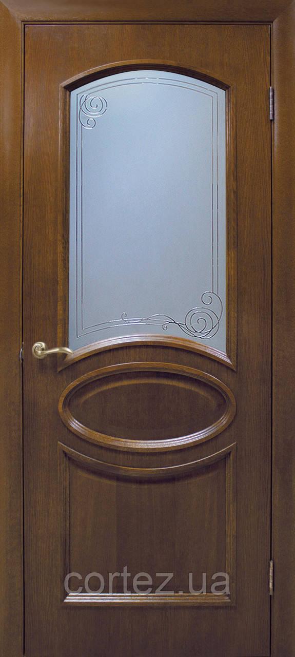 Межкомнатные двери пвх Лаура СС+КР орех