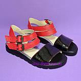 Женские черно-красные босоножки на низком ходу, фото 2