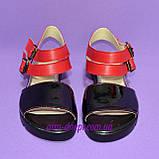 Женские черно-красные босоножки на низком ходу, фото 3