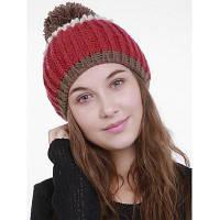 Женская Вязаная Шляпа С Цветом Блока И Помпоном Красный