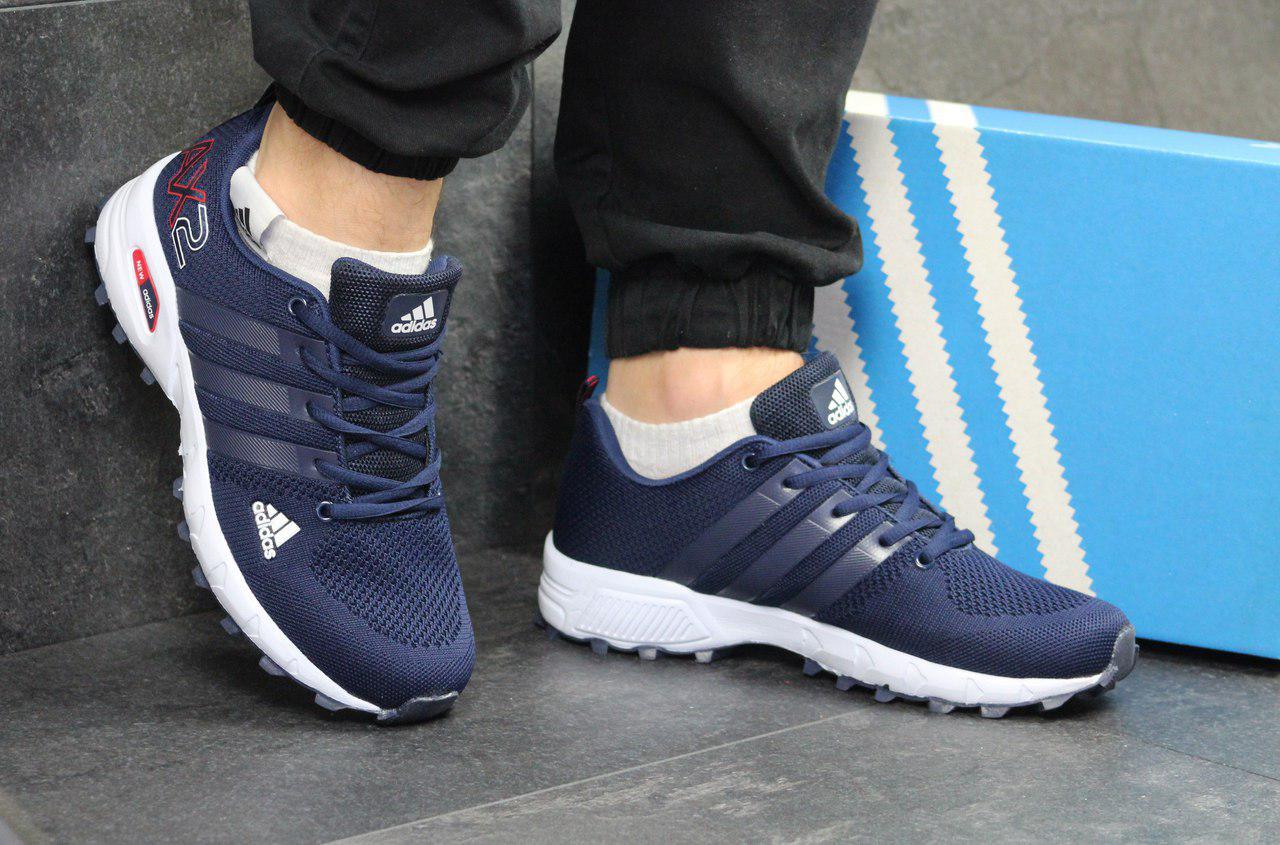 Кроссовки мужские Adidas АХ2 (синие с белым), ТОП-реплика