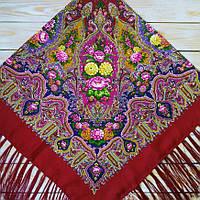 Вишукана жіноча хустина вишневого кольору (120х120см, 80%-шерсть), фото 1