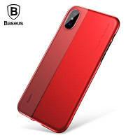 Baseus и половина на половину ТПУ+PC задняя крышка для iPhone х Красный