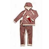 Костюм трикотажный для девочки Бордо меланж  110 Модный карапуз (03-00610-0)