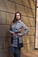 Передник  серый с кожаной отделкой, униформа для персонала, индивидуальный пошив, все размеры
