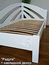 """Кровать белая из серии """"Радуга"""". Массив - ольха, береза, дуб., фото 3"""