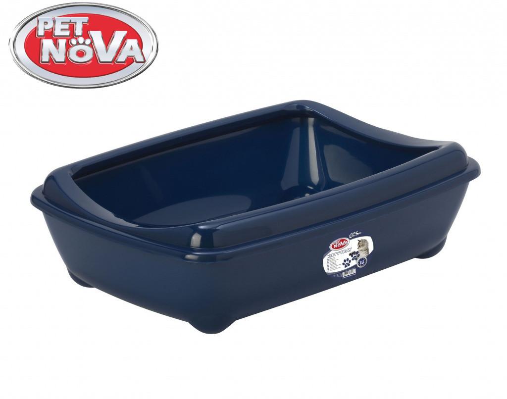 Туалет для котів з бортиком Pet Nova KittyTray 42 см синій