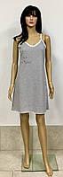 Женская ночная сорочка на тонких бретелях полотно кулир меланж 44-52 р