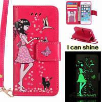 Женщины Cat светящиеся окрашенные Pu телефон чехол для iPhone 5 / 5S / 5C / Se Красный цвет (как у