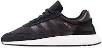 Кроссовки Adidas Iniki  , цвет черный на белой подошве с черными полосками