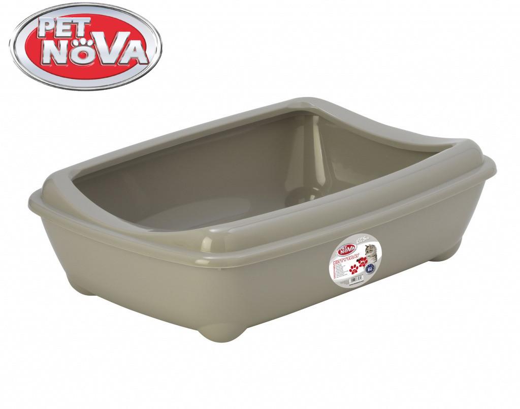 Туалет для котов с бортиком Pet Nova KittyTray 50 см серый
