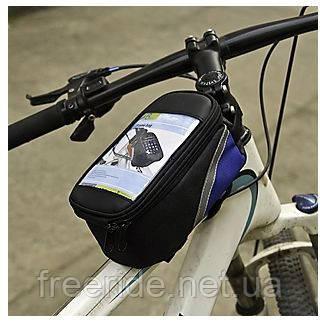 Велосумка на раму под смартфон 5.5'' (с синим боком)