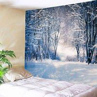 Настенный Декор Лесной Тропинке Снег Печать Гобелен ширина59дюймов*длина51дюйм