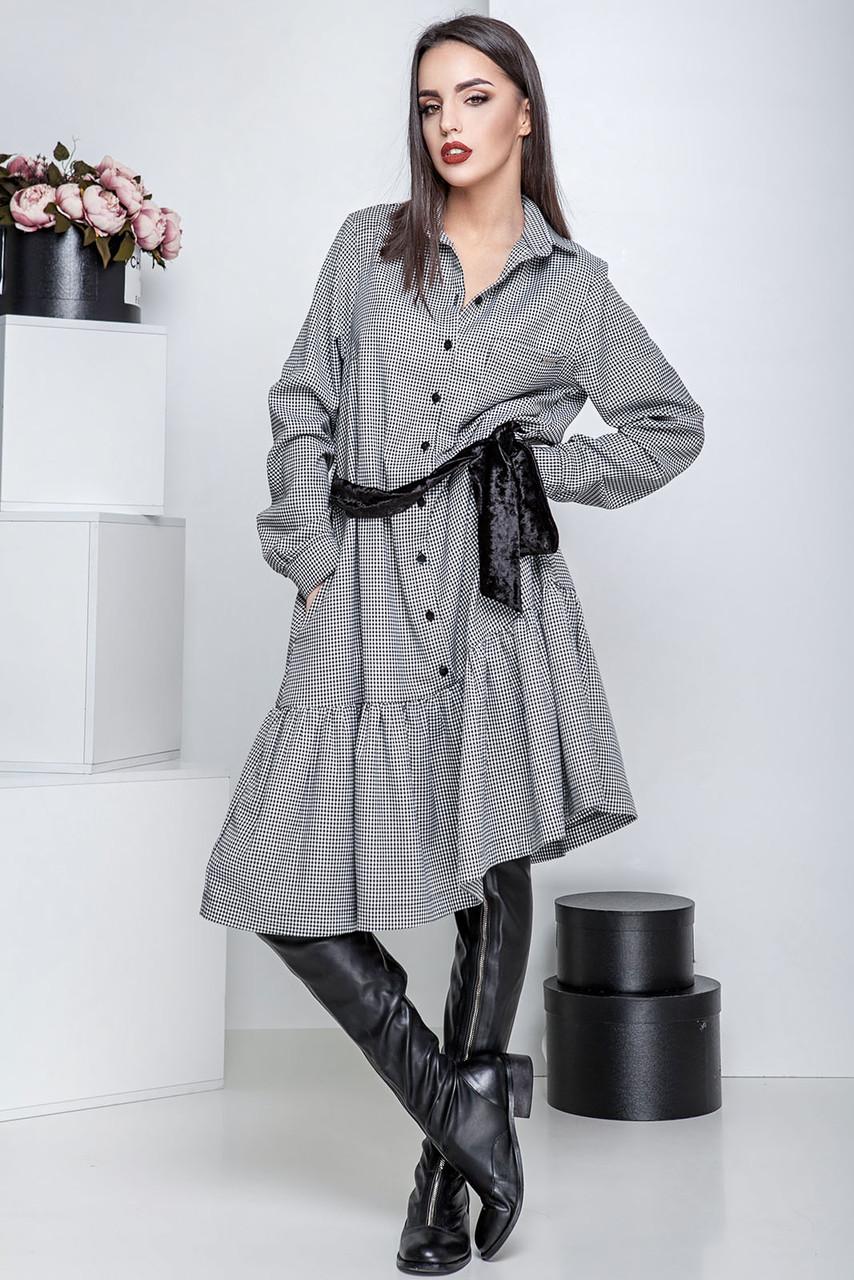 Платье-рубашка oversize с оборкой