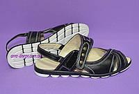 Женские кожаные черные босоножки на низком ходу